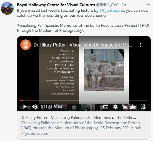 The image shows the first lecture slide, including an image of part of a memorial sculpture. The sculpture depicts a man sat on a bench.